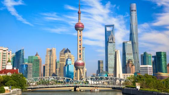 Waibaidu Bridge and Pudong skyline wallpaper