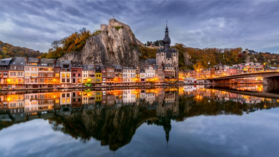 Dinant Citadel reflection wallpaper