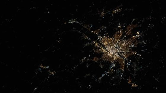 Budapest at night satellite image wallpaper