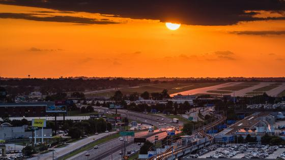 Sunset over St. Louis Lambert International Airport wallpaper