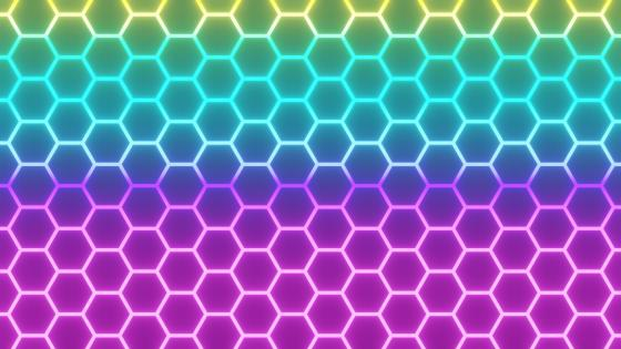 Neon hexagons wallpaper