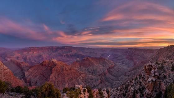 Navajo Point view of the south rim of the grand canyon at sunrise wallpaper