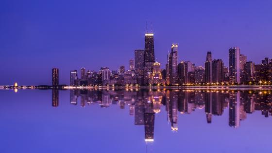 Chicago reflection on Lake Michigan wallpaper