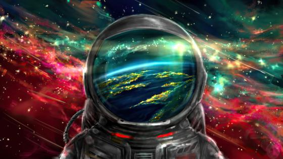Astronaut in the colourful space wallpaper