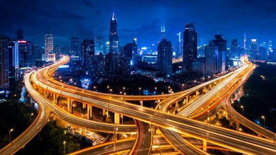 Shanghai junction at night wallpaper