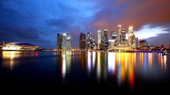 Singapore night skyline wallpaper