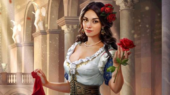 Beautiful Italian girl with red roses in Venice. wallpaper