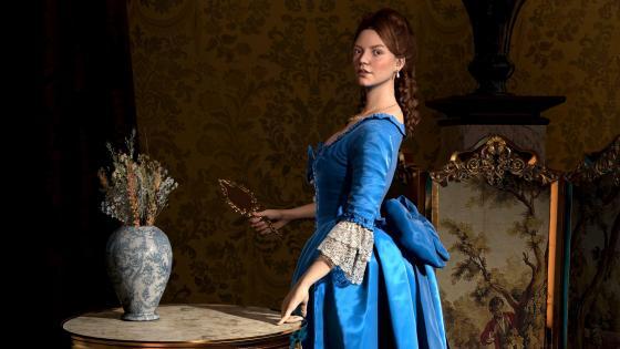 Girl in Blue Dress painting art wallpaper