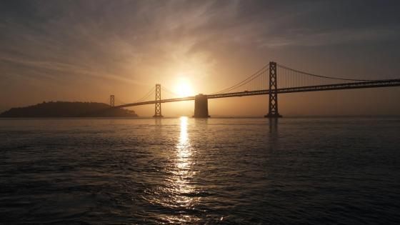 Sunrise Over the San Francisco – Oakland Bay Bridge wallpaper