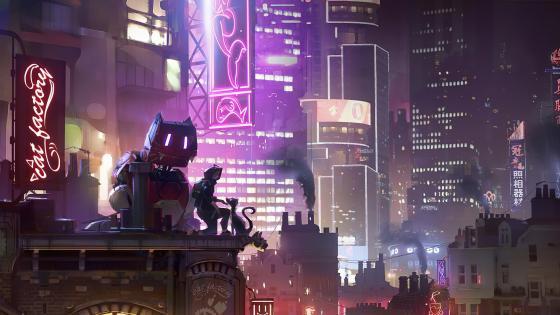 Cyberpunk cat wallpaper