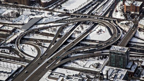 Chicago's Circle Interchange During Winter wallpaper