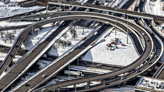 Close-Up of Chicago's Circle Interchange in Winter wallpaper