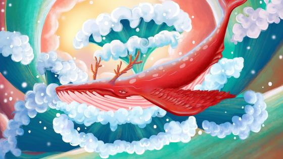 Humpback whale with horns fantasy art wallpaper