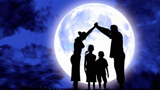 Family Under The Moon wallpaper