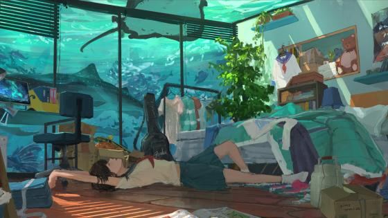 Underwater room anime art wallpaper