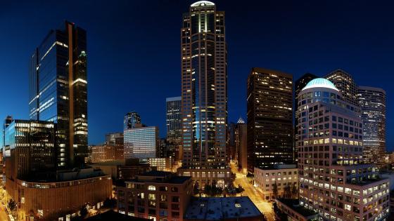 Seattle night skyline wallpaper