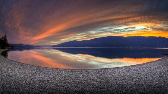Sunset Fisheye photography wallpaper
