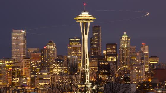 Space Needle and Seattle's city lights wallpaper