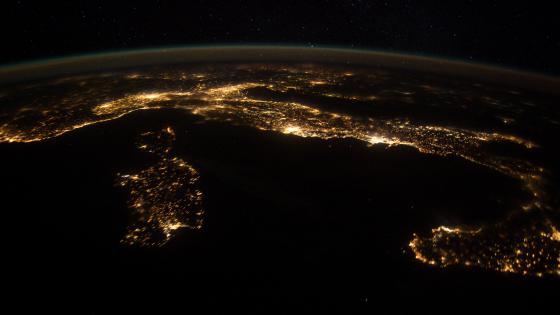 Italy at Night from the International Space Station wallpaper