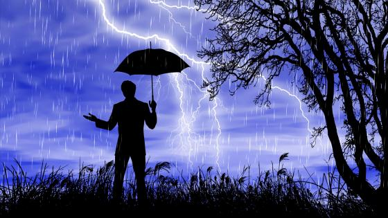 Man in the rain wallpaper