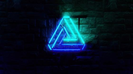 Glowing neon triangle wallpaper