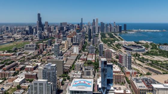 Chicago Skyline & Wintrust Arena wallpaper