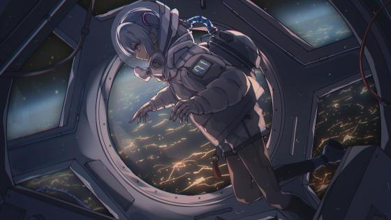 Cute anime girl in space suit wallpaper