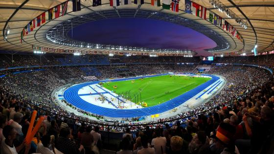 Panorama of the Olympiastadion in Berlin at Night During the World Championships in Athletics wallpaper