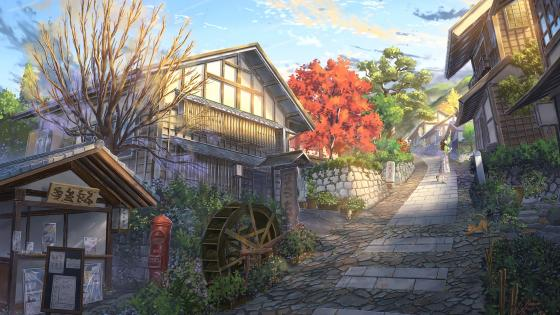 Anime village wallpaper
