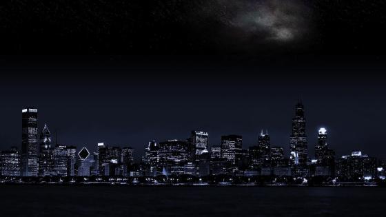 Chicago night cityscape wallpaper