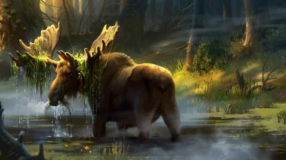 Moose in a swamp fantasy art wall mural wallpaper