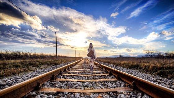 Girl With Guitar On The Railroad wallpaper