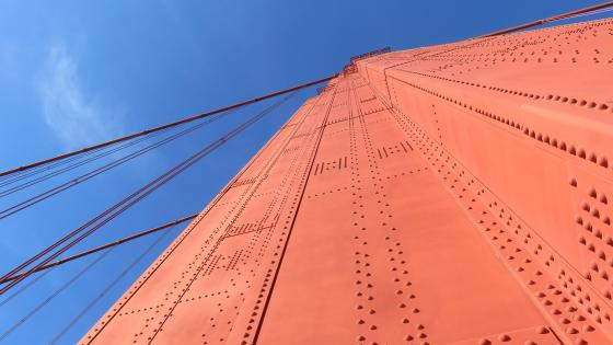 Worm's-Eye View of a Tower on the Golden Gate Bridge wallpaper