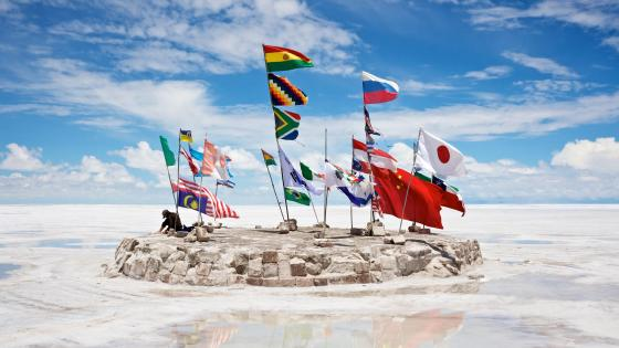 Flags at Salar de Uyuni, Bolivia wallpaper