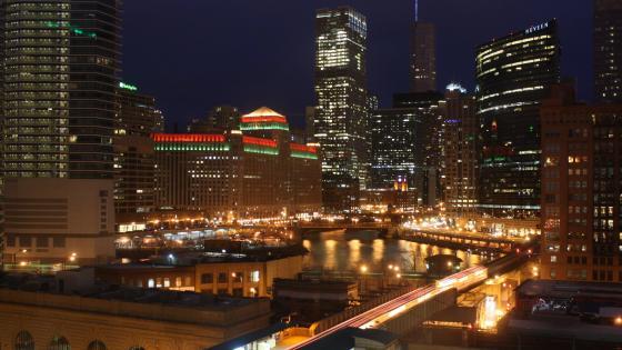 Haymarket, Chicago at Night wallpaper