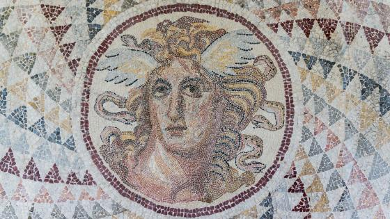 Mosaic in the Garden on the Floor at the National Archaeological Museum of Athens wallpaper
