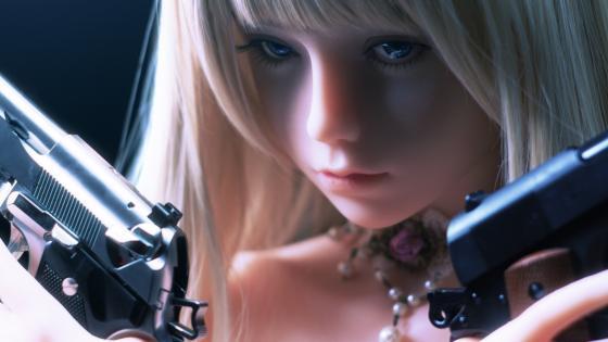 Girl with guns wallpaper