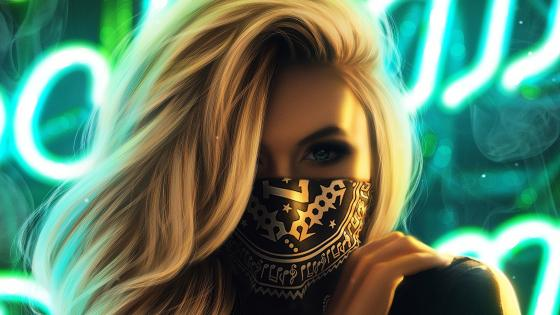 Girl in mask wallpaper