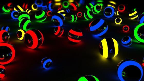 3D glowing billiard balls wallpaper