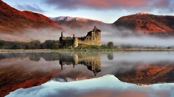 Reflection of Kilchurn Castle in Loch Awe, Highlands, Scotland wallpaper