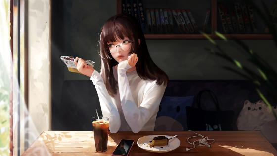 Anime Girl With Book And Piece Of Cake wallpaper