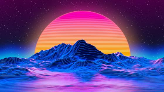 Vaporwave Sunset Ladscape wallpaper
