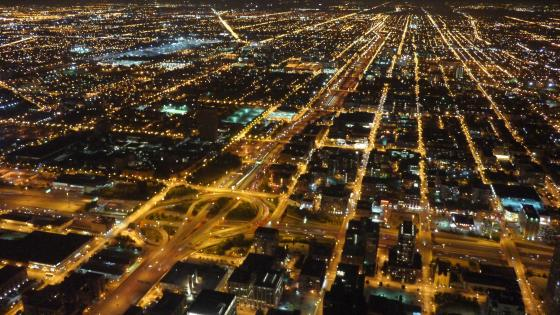 Nighttime Cityscape in Chicago wallpaper