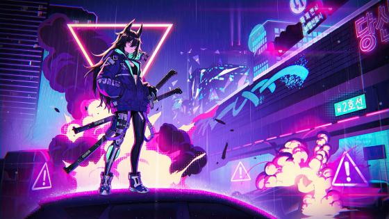 Neon anime girl wallpaper
