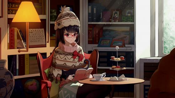 Anime girl with a book while having breakfast wallpaper
