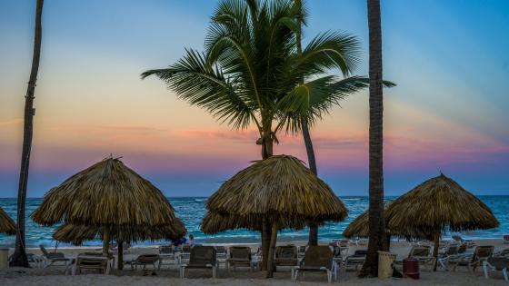 Tropical beach at dawn wallpaper