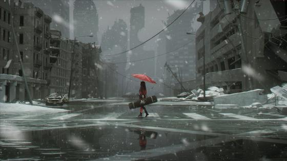 Snowy ruined city and girl in red dress with red umbrella wallpaper