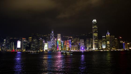 Victoria Harbour by night wallpaper