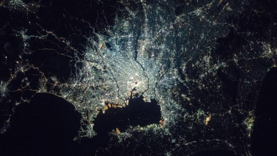 Night in the Greater Tokyo Area seen from the ISS wallpaper