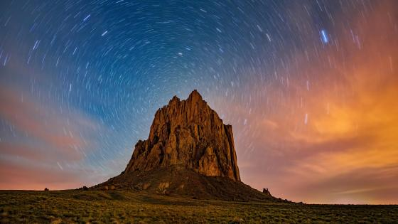 Star trails over Shiprock, New Mexico wallpaper